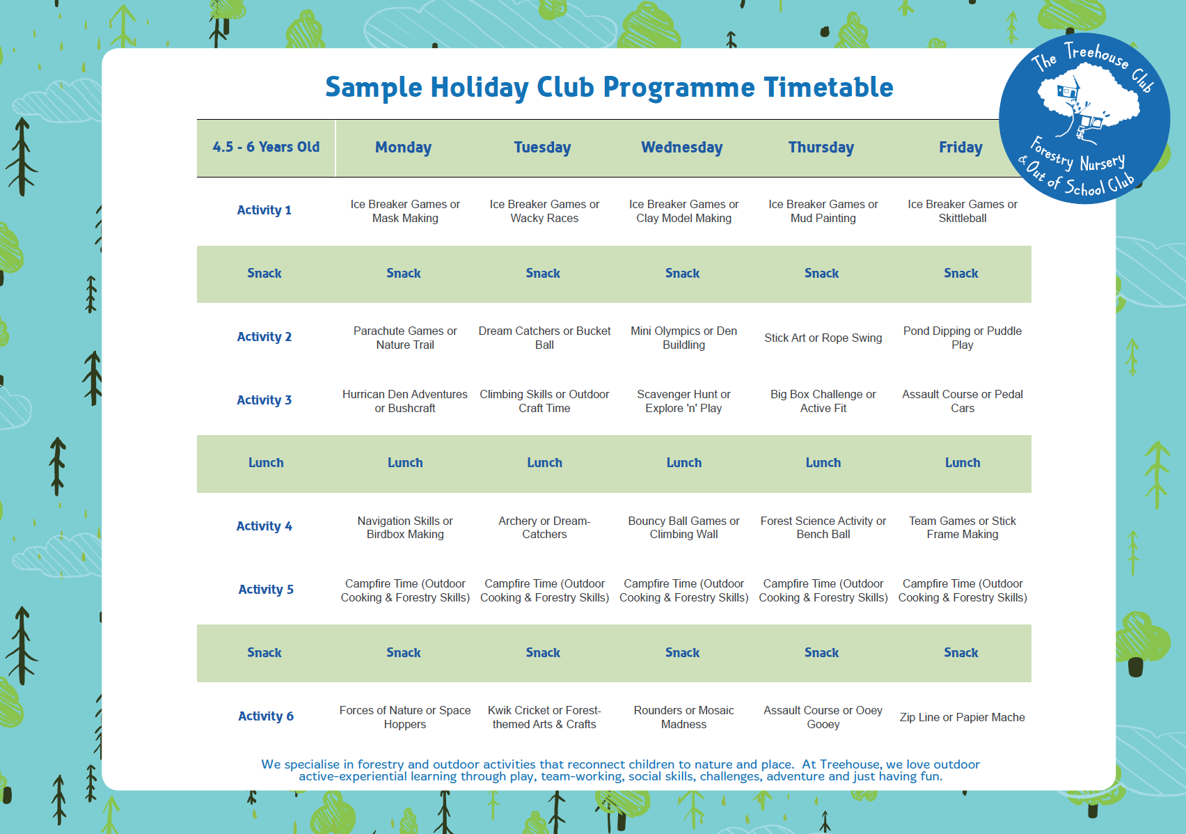 Treehouse Holiday Club Activity Schedule 2019